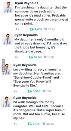 """""""How to be the most savage dad"""" a guide written by Ryan Reynolds"""