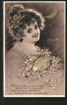 old postcard: AK junge Frau mit einem Herz aus Blumen, Mond und Sterne