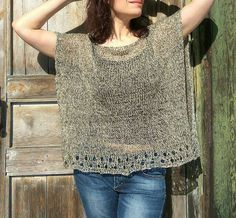 Taupe Linen Poncho Sweater Trending Now Loose Top for Women