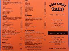 Menu East Coast Taco, Niantic, CT