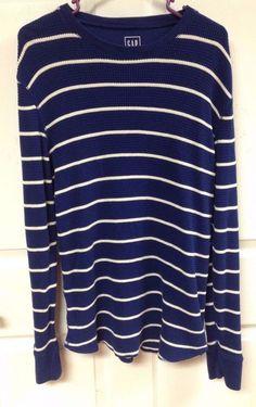 Mens GAP Blue and White Striped Waffle Long Sleeve Shirt Sweart Size XL X Large #GAP #CrewNeckSweater