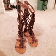 Gladiator fringe lace up sandal tall boots brown Never worn. Size 7.5 can fit size 8. Shoes Lace Up Boots