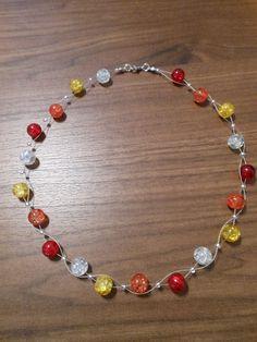 Neu unikat gelb rot weiss orange Glas kette Halskette Collier Glasperlen Perlen in Uhren & Schmuck, Modeschmuck, Halsketten & Anhänger | eBay!