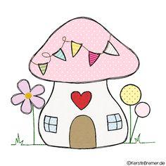 Pilzhaus mit Herz Doodle Stickdatei