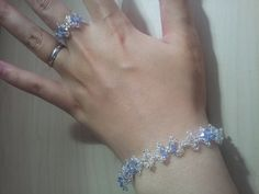 My dear friend in Japan has opened an etsy shop! Please take a look! Her work is lovely!!  Swarovski light  blue and crystal bracelet with by NeoUniverseTaro, ¥5000