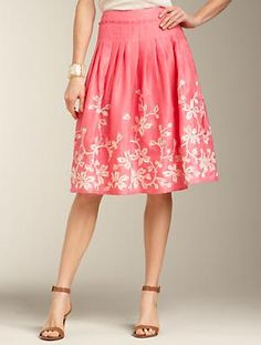 "Embroidered Linen Skirt  new      $109.00  Make a statement in this flowy full-skirt. Features flattering pleats and a beautifully-embroidered floral design. Side zip. Length: M25""; P23""; W25""; WP23"". Fully lined. Dry clean. Imported."