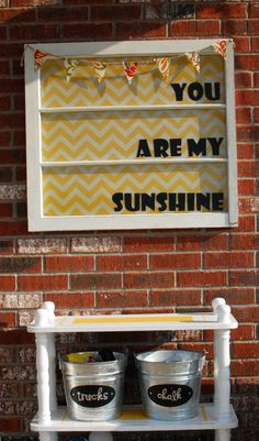 love the yellow chevron and the window... and chalkboard paint :)