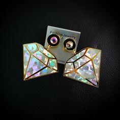 Moda Imitação de diamante geométrica brincos hip hop do punk do vapor mulheres femme grande brincos brincos do parafuso prisioneiro do punk brinco jóias