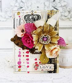"""""""Finnabair's new Art Alchemy Acrylic Paint, Alterable Flowers, and Rust Effect Paste are non-stop fun!  I so enjoyed sitting down with her products and setting to work creating this card."""" ~ Melissa Phillips #cards #new #finnabair #flowers"""