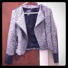 SALEVS tweed/leather jacket Stylish, sexy jacket with leather wrist cuffs and back accent. Never worn! Victoria's Secret Jackets & Coats