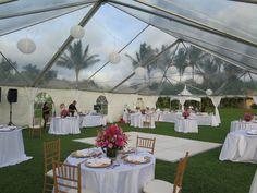 Our couple's beautiful wedding reception set up in progress at Paradise Cove. Contact Hawaii Weddings by Tori Rogers www.hawaiianweddings.net