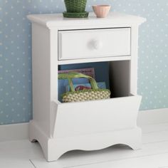 Nice nightstand for books. I don't like the blue wall though.     Walden Nightstand (White)  | The Land of Nod