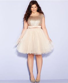 Gold Tulle & Sequin Plus Size Homecoming Dress It didn't... - Curves are Sexy!
