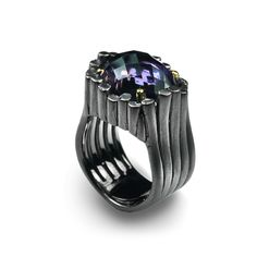 Ring | Gabriel Kabirski. Sterling silver plated with Ruthenium and amethyst.