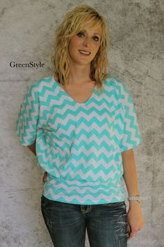 Street Style Top in Aqua and White Chevron by by Gogreenstyle, $44.00