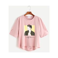 Pink Portrait Print High Low Ripped T-shirt (2.375 HUF) ❤ liked on Polyvore featuring tops, t-shirts, destroyed tee, patterned tops, print top, destroyed t shirt and pink top