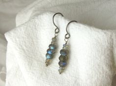 Labradorite Earrings, Dangle, Hypoallergenic, Stack Of Flash by Sarah Troedson