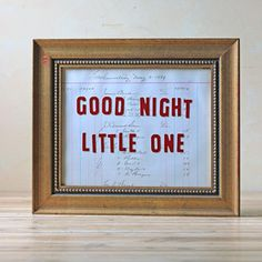 Good Night Sign Framed now featured on Fab.
