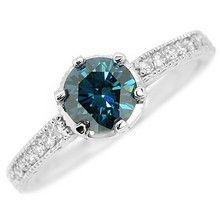 1.05ct Blue Diamond Engagement Ring Vintage