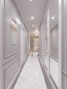 Wall molding and pictures lit Ceiling Design, Wall Design, House Design, Hallway Decorating, Interior Decorating, Interior Design, Flur Design, Hallway Designs, Wall Molding