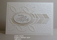 Stampin' Up! products....Very Vanilla cardstock, Crumb Cake and Soft Suede inks...with Lattice die, Lacy Brocade folder, Love & Sympathy plus Oh Hello stamp sets and the Ovals framelits.