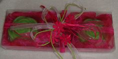 Handmade Gift Set in Fuchsia very nice decorated with 3 small Scented Luxury Soaps - two light green / lime color and lemongrass scent, one