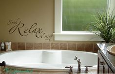 Items similar to Soak Relax Enjoy Bathroom Sayings Quote Vinyl Lettering Wall Words Stickers Decals Bathroom or Spa Decor - Vinyl Lettering Decal 797 on Etsy Bathroom vinyl wall art Bathroom Quotes, Bathroom Spa, Bathroom Humor, Bathroom Wall Decor, Master Bathroom, Bathroom Ideas, Small Bathroom, Bathroom Showers, Bath Ideas