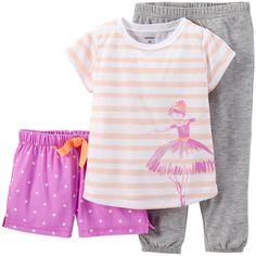 Pijama 3pc 332-389 $45.000,00COP  Consigue 2 conjuntos de pijamas en 1 con este set de 3 piezas. El juego incluye un blusa de manga corta con Adorable estampado, y una opción de pantalon corto y largo plazo pretinas elásticas en ambas...
