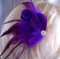 Regal Peacock Hair Fascinator Clip MIDNIGHT PLUM by maggpieseye, $25.00