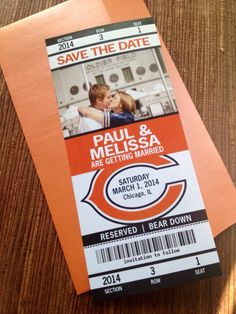 Football Wedding Save the Date Ticket / by papercakedesigns, $2.00