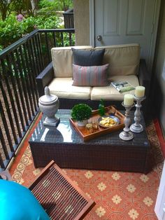 The ACTUAL end result of the earlier design board.  Awesome!  SMALL CONDO PATIO MAKEOVER - THE REVEAL - BluLabel Bungalow | Interior Design Advice and Inspiration