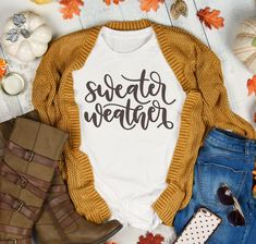 Sweater Weather Fall Tshirts For Woman Thanksgiving Pumpkin Spice Tee With Sayin - Fall Shirts - Ideas of Fall Shirts - Sweater Weather Fall Tshirts For Woman Thanksgiving Pumpkin Spice Tee With Saying Gift For Her Vinyl Shirt Ideas of Vinyl Shirt Pullover Shirt, Sweater Shirt, Shirt Outfit, Big Sweater, Sweater Weather, Fall Winter Outfits, Autumn Winter Fashion, Casual Winter, Women's Casual