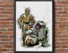 """Star Wars Droids Wall Art Print - Digital Download. Wall Art Printable. Ink. 24""""36"""" Print Frame Wall Art Prints, Framed Prints, Star Wars Droids, Printable Wall Art, Etsy Store, Ink, Stars, Digital, Vintage"""