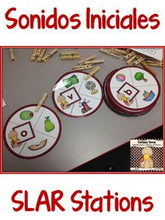Spanish SLAR Stations for preschool and kindergarten.  Sonidos iniciales…