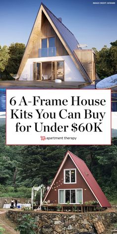 These energy-efficient and affordable A-Frame house kits are cozy, comfortable, and can be built virtually anywhere, so they're ideal for those looking to get off the grid. A Frame House Kits, Tiny House Kits, Tiny House Cabin, Up House, Tiny House Plans, Cabin Homes, A Frame Cabin Plans, Build A Frame, Cabin Design
