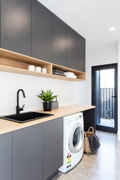 Laundry Room Organization Space Saving Ideas For Functional Small Laundry Room Design. Laundry Inspo - Hope Me. Home Design Ideas Modern Laundry Rooms, Laundry In Bathroom, Basement Laundry, Laundry Decor, Laundry Area, Laundry In Kitchen, Kitchen Grey, Kitchen Wood, Modern Room