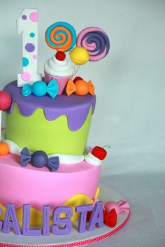 I like the candies and toppers on this cake Candy Theme Cake, Candy Land Theme, Candy Party, Torta Candy, Candy Cakes, Cupcakes, Cupcake Cakes, Gateaux Cake, Girl Cakes
