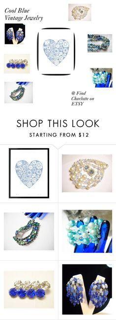 """""""Cool Blue Vintage Jewelry"""" by findcharlotte ❤ liked on Polyvore featuring vintage"""