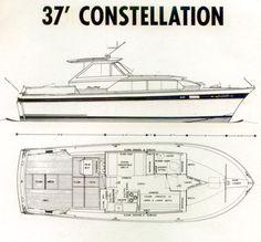 37' Chris Craft Constellation floor plan for 1963-1967.