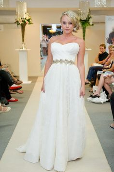 Elizabeth de Varga Kiki gown Ivory Chantilly lace with beaded belt and headband courtesy of @Ivie White bridal accessories