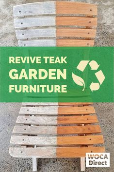 Renew Teak Wood Outdoor Furniture Bring old outdoor wood furniture back to life by cleaning with WOC Teak Garden Furniture, Outdoor Wood Furniture, Outdoor Wood Projects, Diy Projects, Deck Cleaner, Outdoor Tiles, Cleaning Wood, Vinyl Siding, Teak Wood