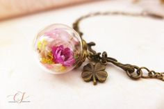 Real Flower Bracelet with Four Leaf Clover Lucky Charm - Nature Jewellery