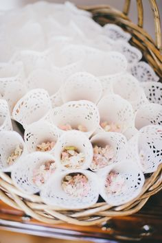 Lace paper confetti cones by yarn and Ivory! https://www.etsy.com/listing/230698578/confetti-cones-wedding-decor-flower?ref=shop_home_feat_2