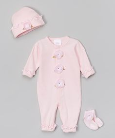Look at this #zulilyfind! Pink Silk Roses Playsuit Set - Infant by Too Sweet #zulilyfinds