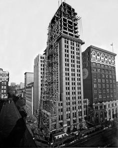 """The Seattle Tower, known as Seattle's """"Northern Life Tower."""" I can see the penthouse floor under construction - the location of my first job out of grad school. It was an architect's dream to work in this building!"""