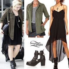 Demi Lovato was spotted arriving at Louis Armstrong International Aiport in New Orleans yesterday. She wore a Religion Solid Spell Tale Dress ($80.61) with the Regiment Army Jacket from Standard Jean Co ($109.95) and a pair of Topshop Anchor Boots. You can find a similar army jacket for $32.99 by The Gold Republic.