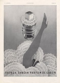 1938 French CanCan perfume ad by Caron