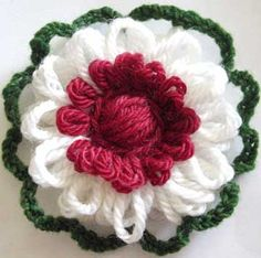 Written directions on post---Double sided loomed flower