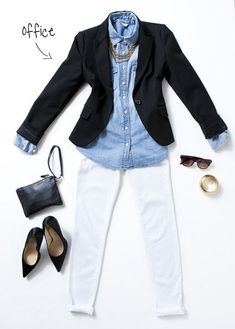 Another great look with white pants. A chambray shirt, black blazer, white dress pants, and black pointy toe flats for work. Mode Outfits, Office Outfits, Casual Outfits, Office Wear, Black Blazer Outfits, Office Heels, Skirt Outfits, Blue Office, Casual Friday Work Outfits