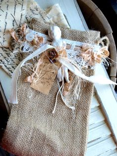 Romantic & Pretty - Burlap Bag with tags & lace.